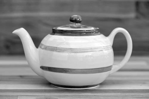 Abstract mini teapot in green