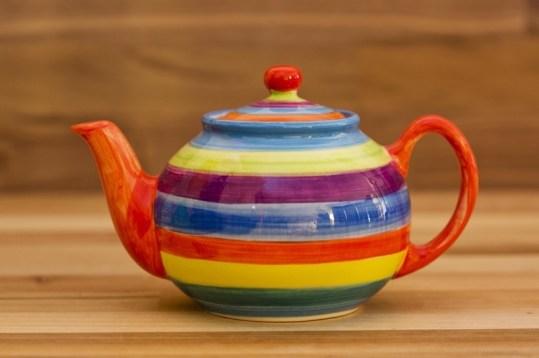 Horizontal Stripey mini teapot in candy