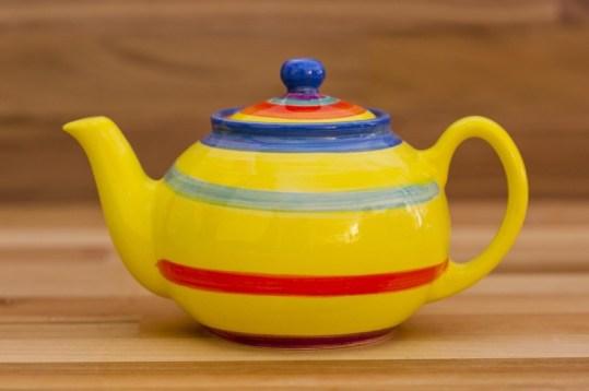 Horizontal Stripey small teapot in Yellow