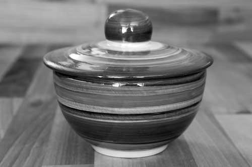Black and White lidded bowl in Banded
