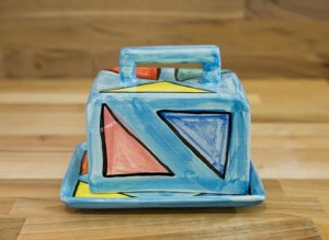 Carnival butter dish in pale blue
