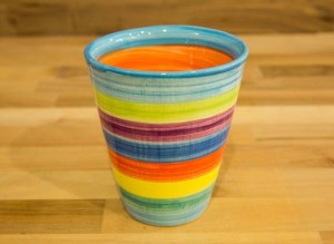 Horizontal Stripey large tapered beaker in Candy