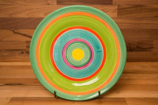 Horizontal Stripey 8″ side plate in green