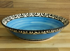 Aztec salad/fruit bowl in bright blue