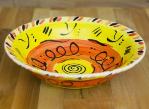 Abstract pasta bowl in yellow