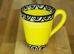 Aztec small tapered mug in yellow Reckless Designs