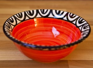 Aztec cereal bowl in red