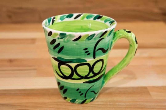 Abstract small tapered mug in green