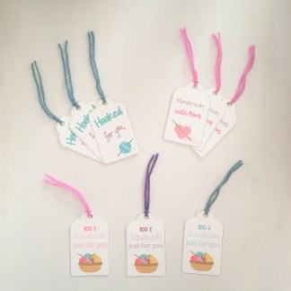Set of crochet gift tags