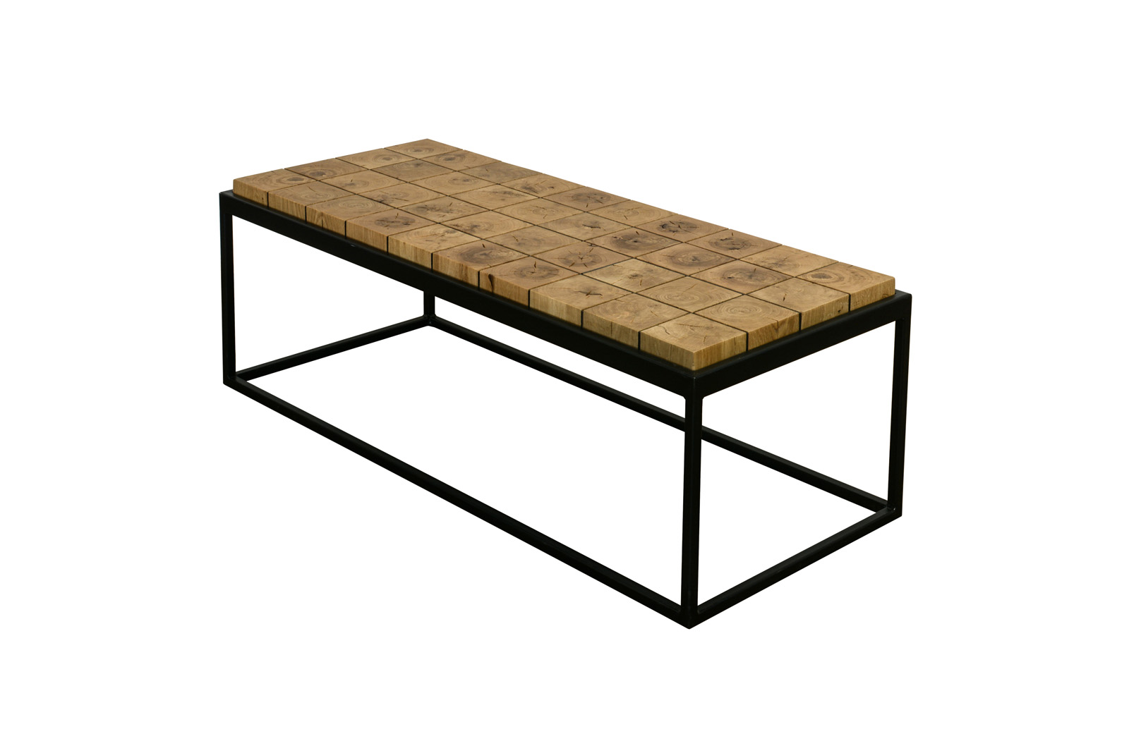 rectangular wooden cube coffee table