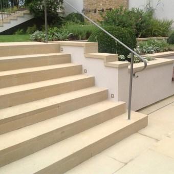 Sawn yorkstone steps