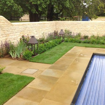 Sawn yorkstone swimming pool