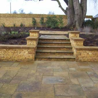 Standard reclaimed yorkstone patio and steps