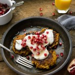 Butternut Squash and Apple Latkes with Maple Mascarpone and Pomegranate