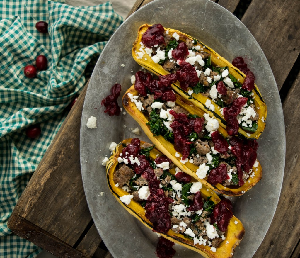 Roasted Delicata Boats with Ground Sausage, Feta, and Orange Cranberry Chutney