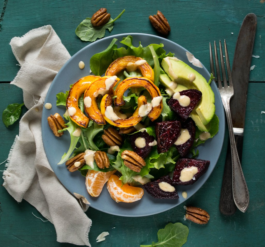 roasted beet and delicata top