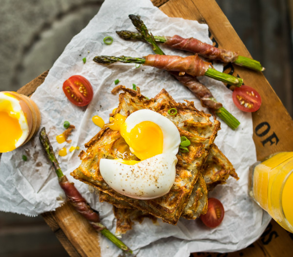 Hash Brown Waffles with Prosciutto Wrapped Asparagus and Soft Boiled Eggs