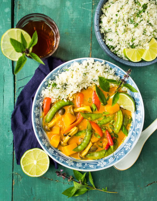 Butternut Squash Coconut Curry with Cilantro Lime Cauliflower Rice