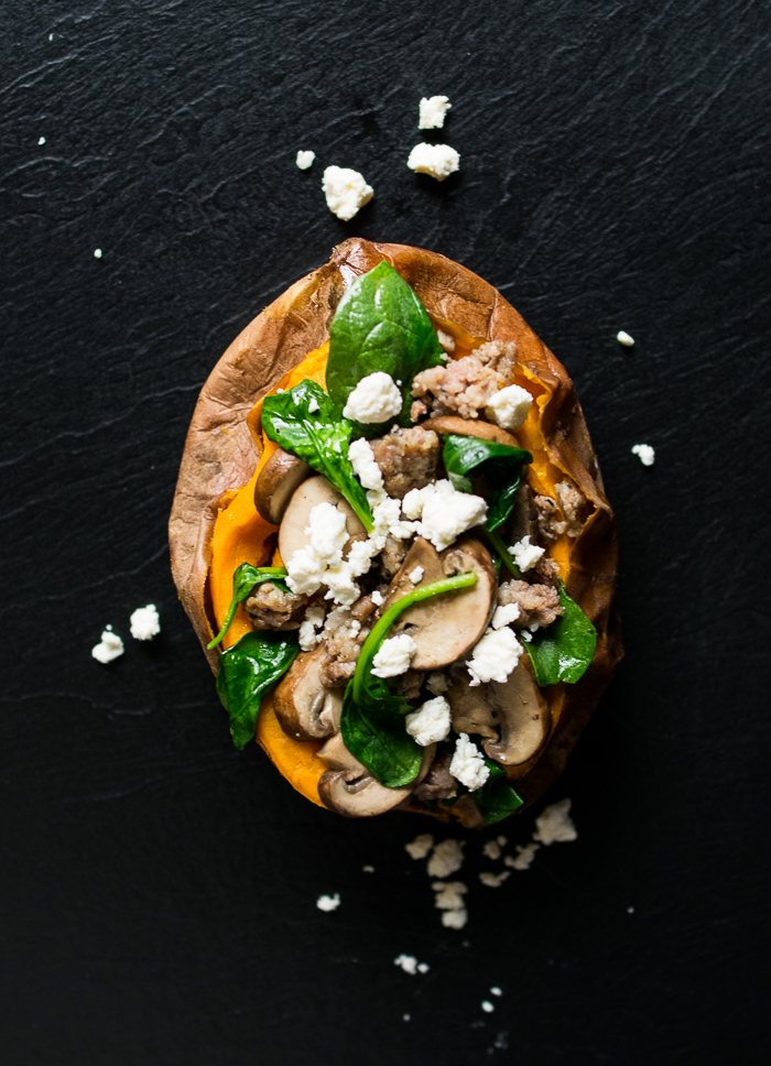 spinach and mushroom stuffed sweet potato