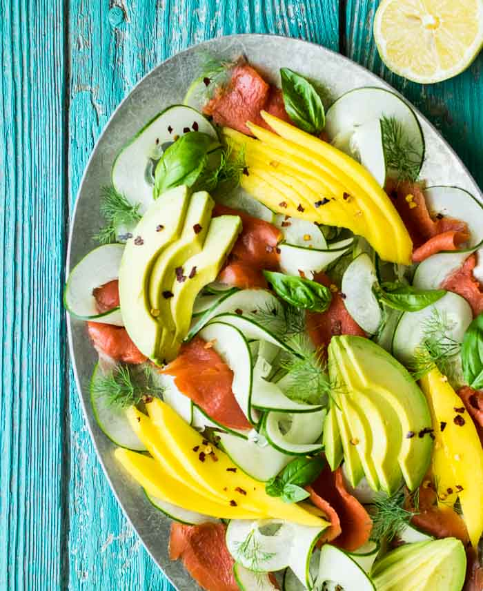 Smoked Salmon Salad with Cucumber, Avocado, and Mango | Reclaiming Yesterday