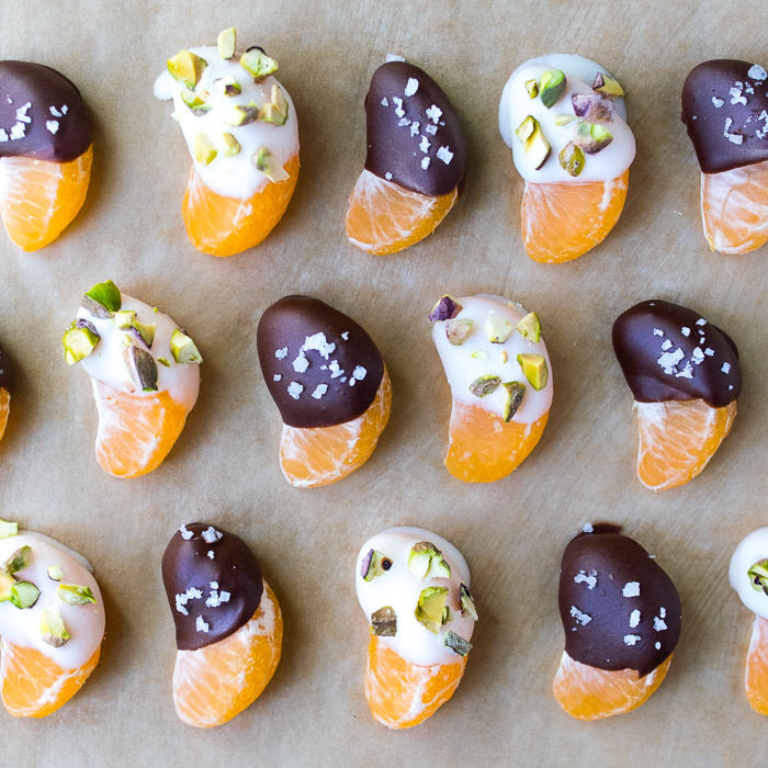 Coconut Butter and Chocolate Dipped Oranges