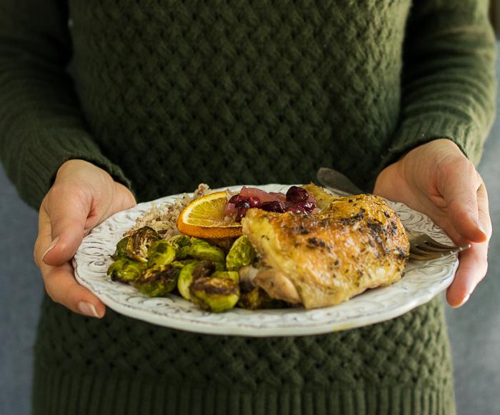Orange Cranberry Spatchcock Chicken