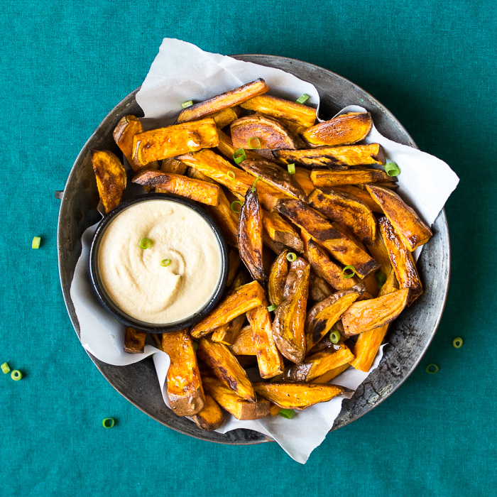 Sweet Potato Fries with Tamari Cashew Dip