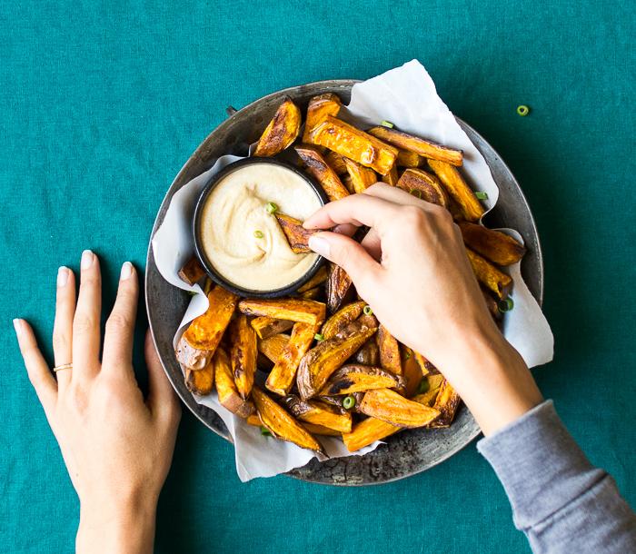 Sweet Potato Fries with Tamari Cashew Dip | Reclaiming Yesterday