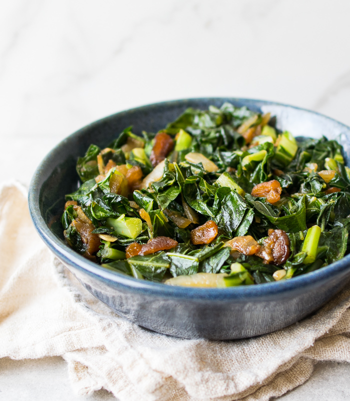 Collard Greens with Cumin and Apricots