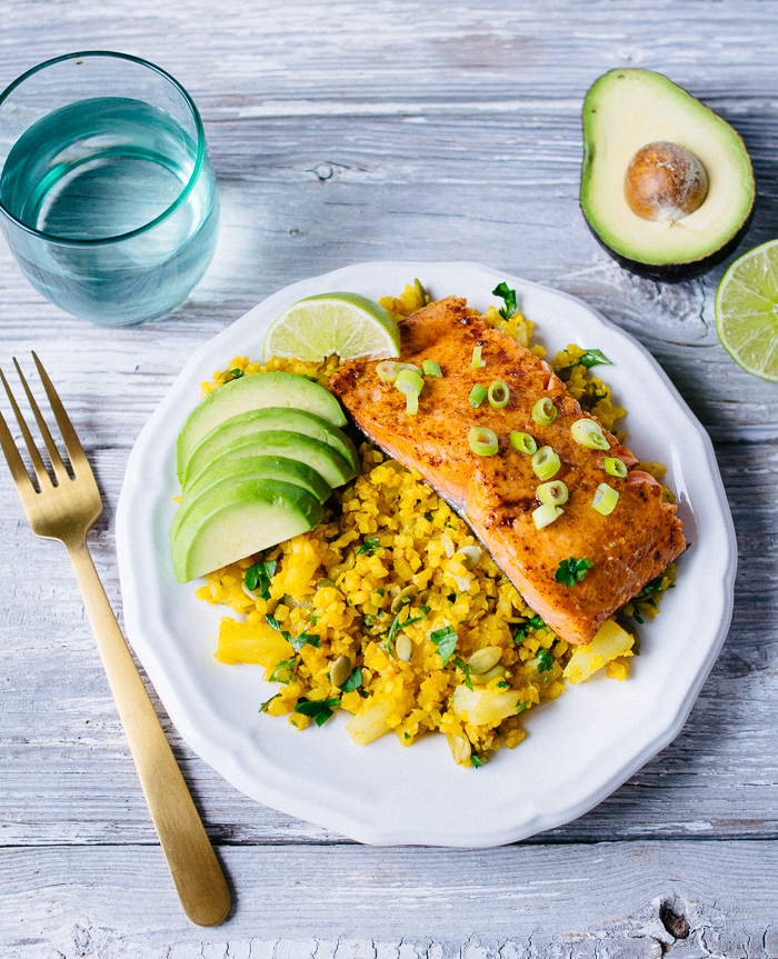 Pineapple and Turmeric Cauliflower Rice with Salmon | Reclaiming Yesterday