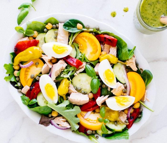 Mediterranean Salad with Basil Vinaigrette | Reclaiming Yesterday