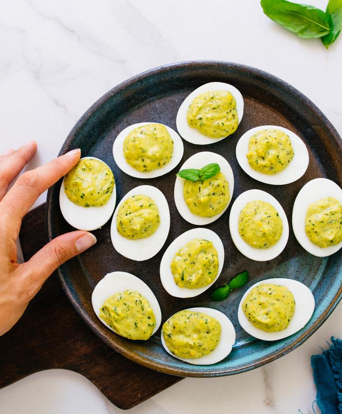Paleo Pesto Deviled Eggs