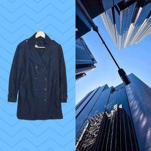 Casaco azul com dupla fila de botões | reCloset roupa em segunda mão