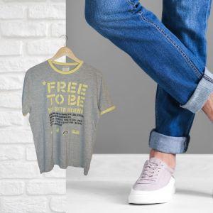 T-shirt cinza e amarela - reCloset roupa em segunda mão