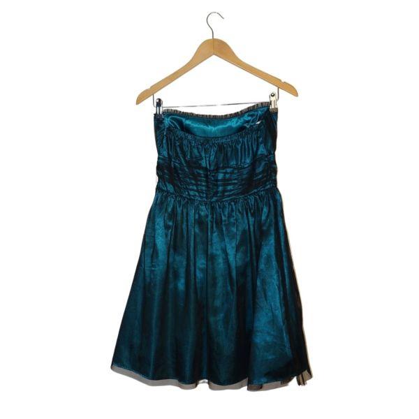Vestido cai-cai azul metálico - reCloset roupa em segunda mão
