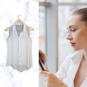 Camisa branca com transparências - reCloset roupa em segunda mão