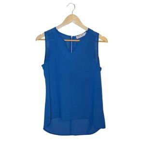 Top azul com fecho - reCloset roupa em segunda mão