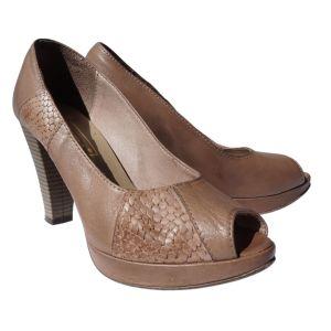 Sapatos peep toe castanhos de salto alto - reCloset roupa em segunda mão