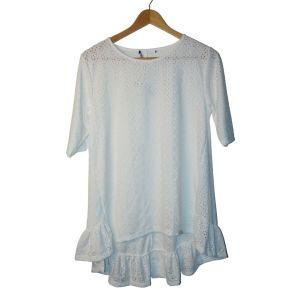 Blusa branca com textura e folho - reCloset roupa em segunda mão