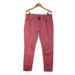 Calças de ganga rosa com laivos em azul - reCloset roupa em segunda mão