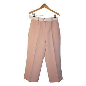 Calças rosa com vinco e cinto branco - reCloset roupa em segunda mão