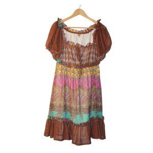 Vestido com padrão colorido de cornucópias - reCloset roupa em segunda mão