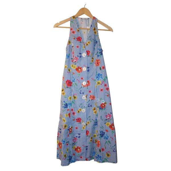 Vestido camiseiro às flores e riscas - reCloset roupa em segunda mão