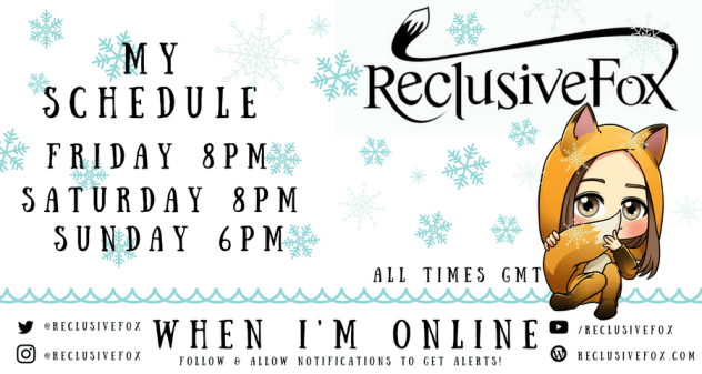 Reclusive Fox Winter Twitch Schedule