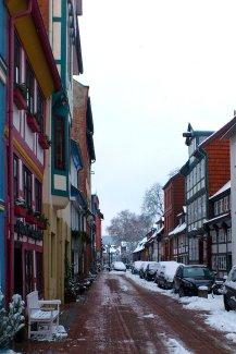 Die Keßlerstraße mit ihren bunten Fachwerkhäusern.