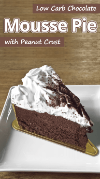Low Carb Chocolate Mousse Pie with Peanut Crust