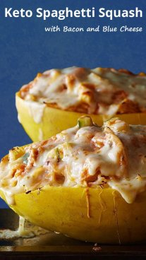 Keto Spaghetti Squash with Bacon and Blue Cheese