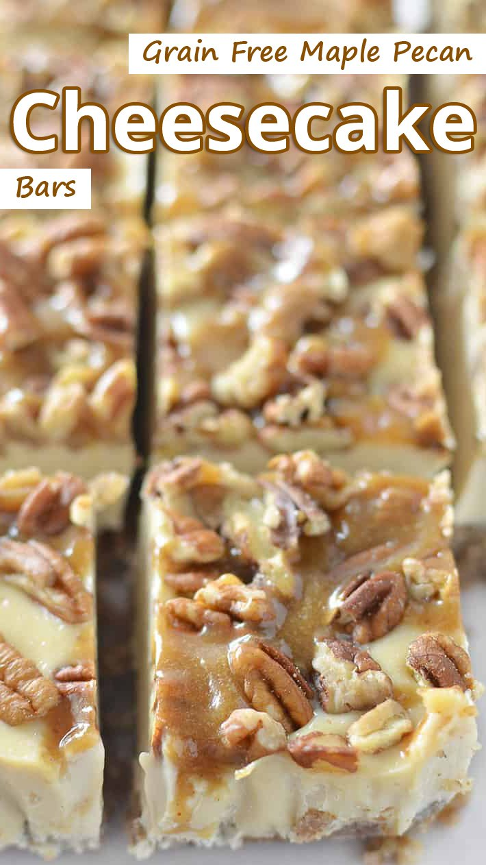 Grain Free Maple Pecan Cheesecake Bars