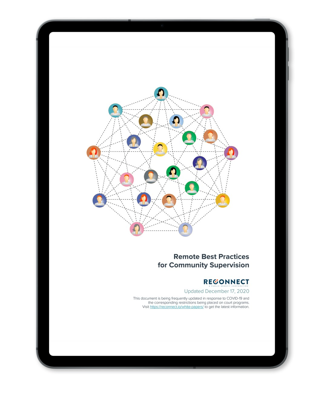 An iPad with Reconnect's Remote Best Practices white paper on it.