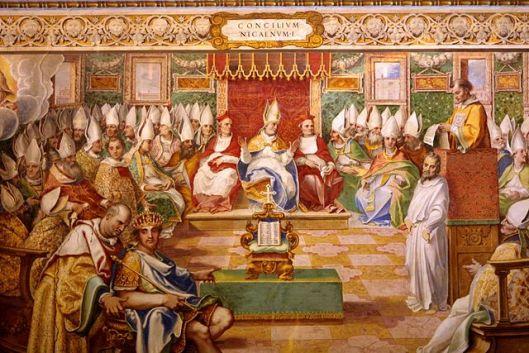 Council of Nicaea (325), Fresco in Capella Sistina, Vatican (source)